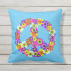 Peace Sign Floral on Blue Outdoor Pillow