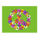 Peace Sign Floral on Lime Green Postcard