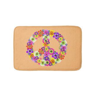 Peace Sign Floral on Peach Bath Mat
