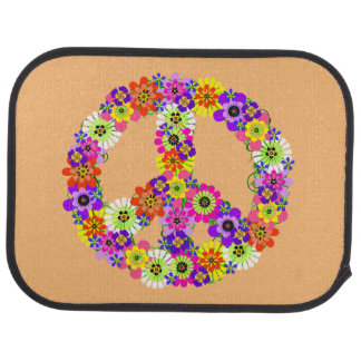 Peace Sign Floral on Peach Car Liners