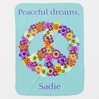 Peace Sign Floral Personalized in Blue Baby Blanket