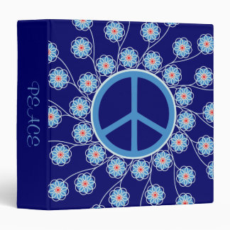 Peace Sign Flowers 3 Ring Binder