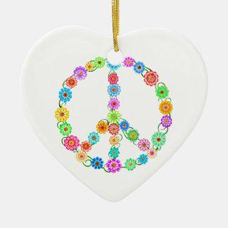 Peace Sign Flowers Ceramic Heart Ornament