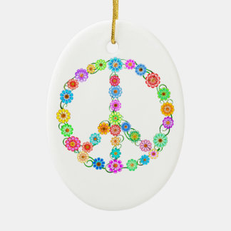 Peace Sign Flowers Ceramic Oval Ornament