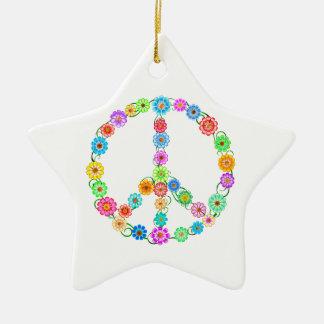 Peace Sign Flowers Ceramic Star Ornament