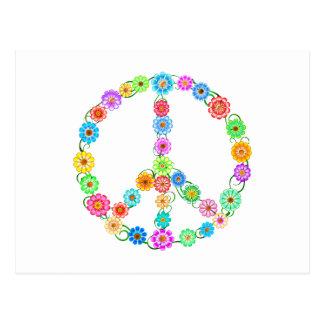 Peace Sign Flowers Postcard