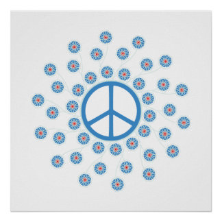 Peace Sign Flowers Print