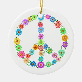 Peace Sign Flowers Round Ceramic Ornament