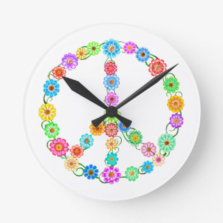 Peace Sign Flowers Round Clock