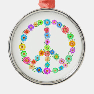 Peace Sign Flowers Silver-Colored Round Ornament