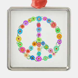 Peace Sign Flowers Silver-Colored Square Ornament