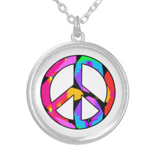 Peace Sign Fractal Flamingo Splash Silver Plated Necklace