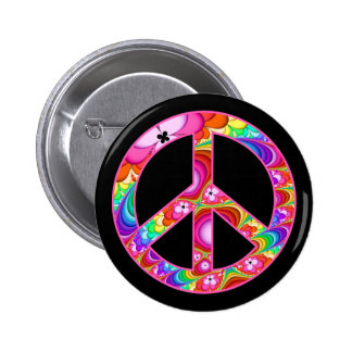Peace Sign Fractal Groovy Trip 2 Inch Round Button