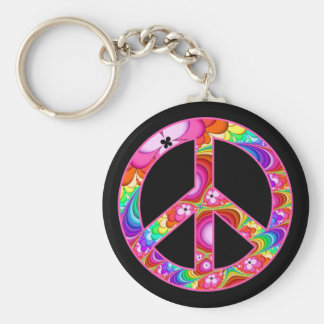 Peace Sign Fractal Groovy Trip Basic Round Button Keychain