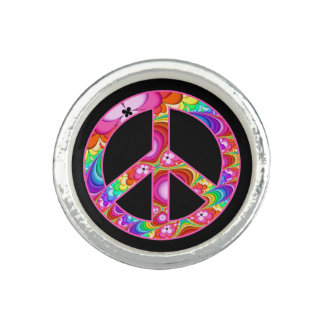 Peace Sign Fractal Groovy Trip Rings