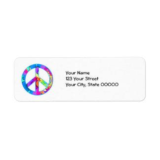 Peace Sign Fractal Summer Palette Return Address Label