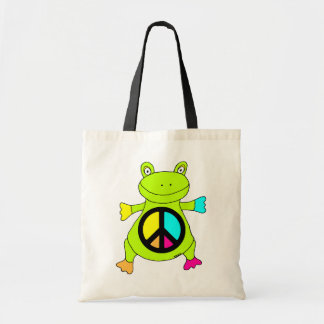 Peace Sign Frog Tote Bag