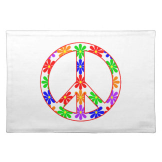 Peace Sign Fun Flowers Place Mat