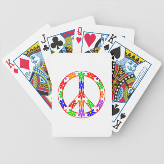 Peace Sign Fun Flowers Poker Deck