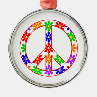 Peace Sign Fun Flowers Silver-Colored Round Ornament