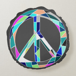 Peace Sign Geometric Neon Round Pillow