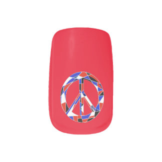 Peace Sign Geometric Red, White and Blue Nails Stickers