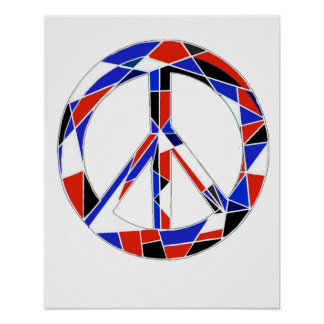 Peace Sign Geometric Red, White and Blue Poster