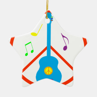 Peace Sign Guitar and Music Notes Ceramic Ornament