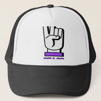 PEACE SIGN HAND SIGNAL TRUCKER HAT