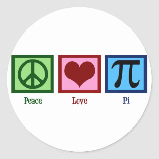 Peace Sign Heart Pi Symbol Classic Round Sticker