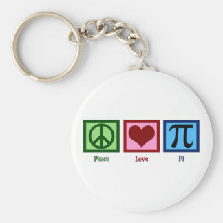 Peace Sign Heart Pi Symbol Keychain