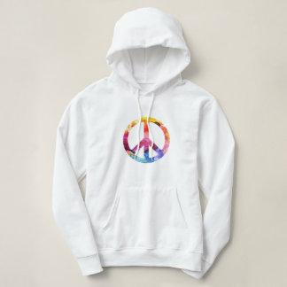 Peace Sign Hippie Girl 70s Watercolor Art Hoodie
