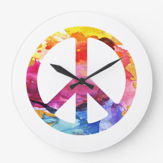 Peace Sign Hippie Girl 70s Watercolor Art Large Clock