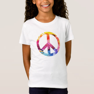 Peace Sign Hippie Girl 70s Watercolor Art T-Shirt