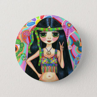 Peace Sign Hippie Girl Button