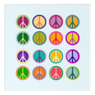 Peace Sign Hippie Popart, 70th, 1970 Acrylic Wall Art