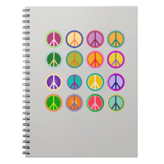 Peace Sign Hippie Popart, 70th, 1970 Notebook