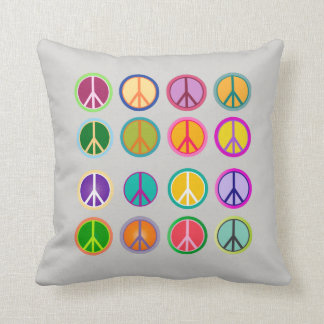 Peace Sign Hippie Popart, 70th, 1970 Throw Pillow