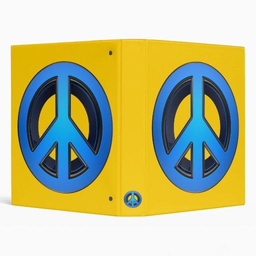 Peace sign in blue vinyl binder