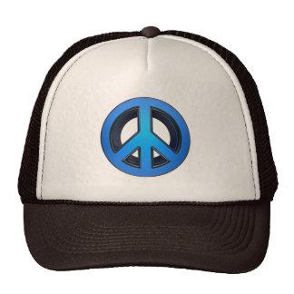 Peace sign in blue trucker hats