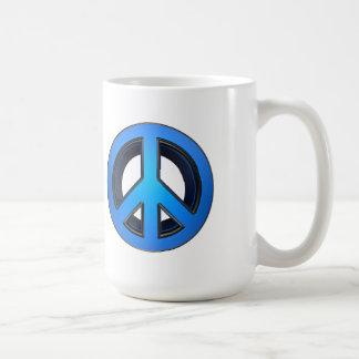 Peace sign in blue mug