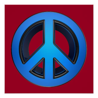 Peace sign in blue print