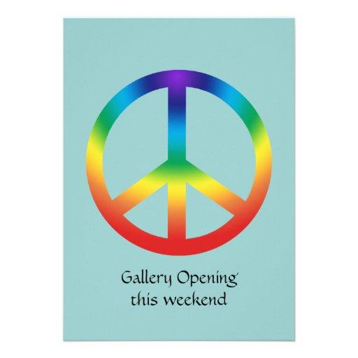 Peace Sign in Rainbow colors Custom Invitation