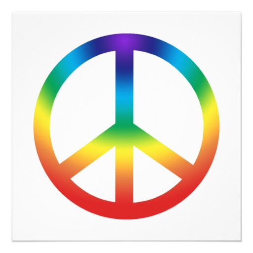 Peace Sign in Rainbow colors Personalized Invitation