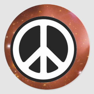 PEACE SIGN IN SPACE ROUND STICKER