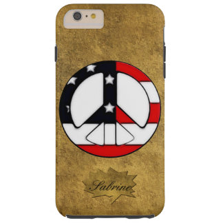 Peace Sign iPhone 6 Plus Custom Monogram Case