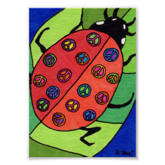 Peace Sign Ladybug Mini Folk Art