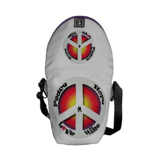 Peace sign: Love to Hike! Messenger Bags