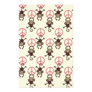 Peace Sign Monkeys Stationery Paper