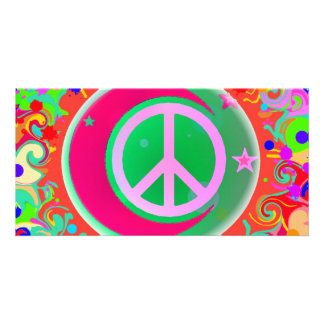 Peace Sign, Moon, Stars & Everything Customized Photo Card